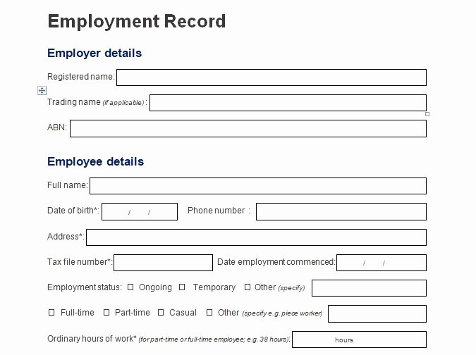 Employment Information form Template Fresh Record Of Employee Information form format Word and Excel