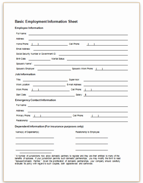 Employment Information form Template Inspirational form Specifications