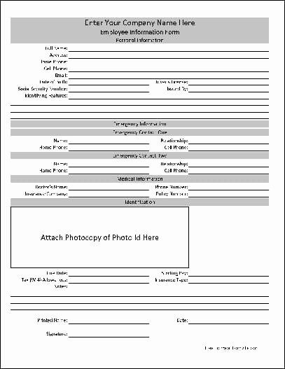 Employment Information form Template Lovely 5 Contact Info Templates formats Examples In Word Excel