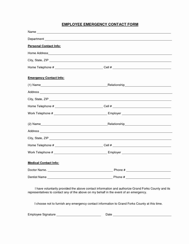 Employment Information form Template Lovely Download A Free Emergency Contact form and Emergency Card