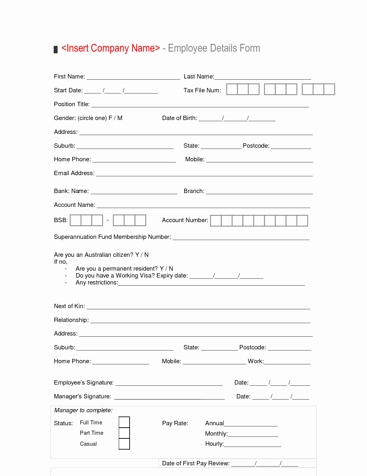 Employment Information form Template Luxury New Hire Employee Details form Template Sample Vlashed