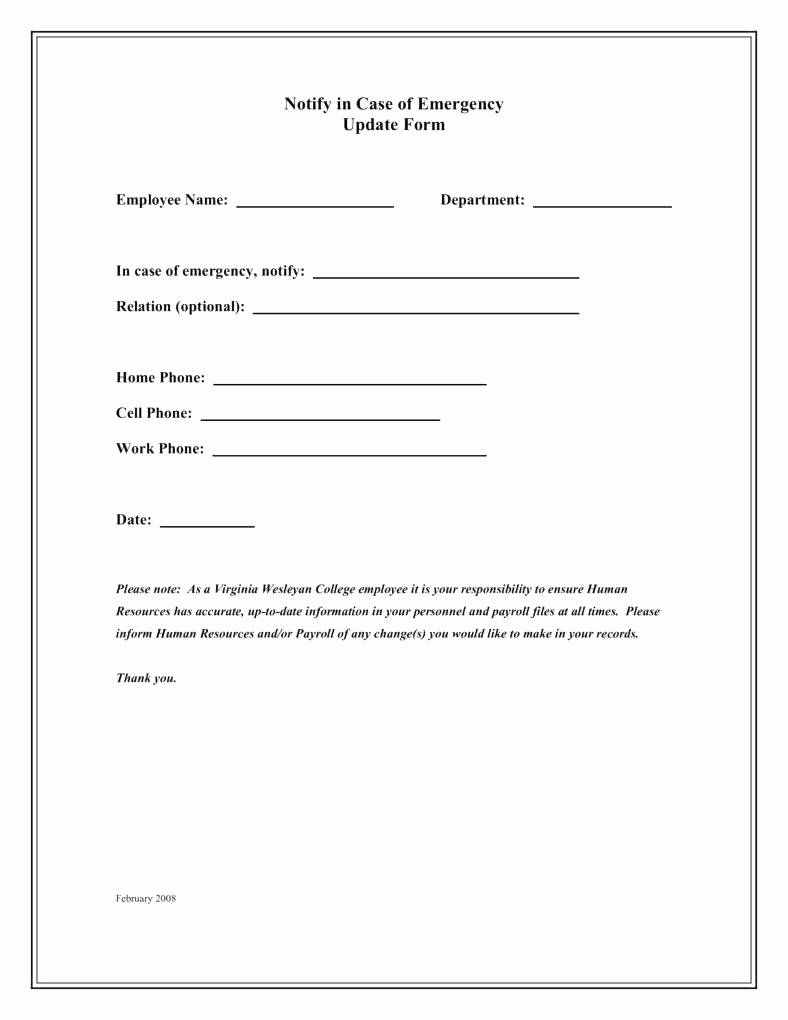 Employment Information form Template Unique Employee Contact Information Template Emergency Info Card