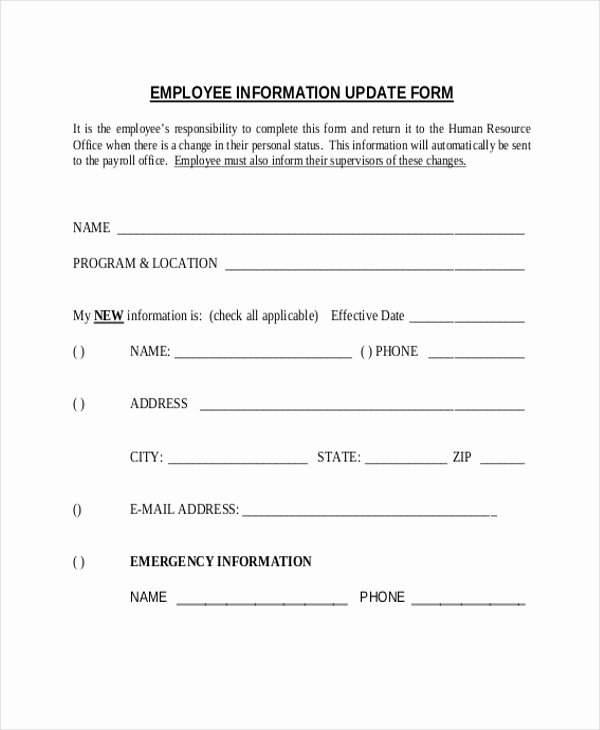Employment Information form Template Unique Sample Employee Information form 10 Free Documents In
