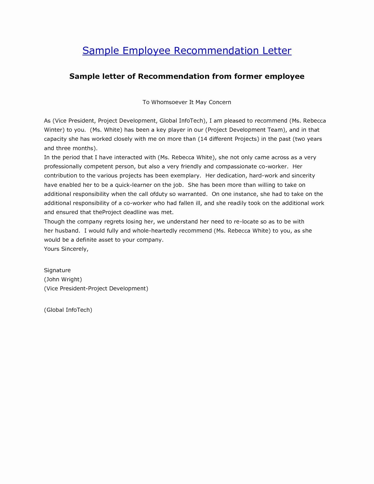 Employment Letter Of Recommendation Template Awesome Sample Employment Reference Letter