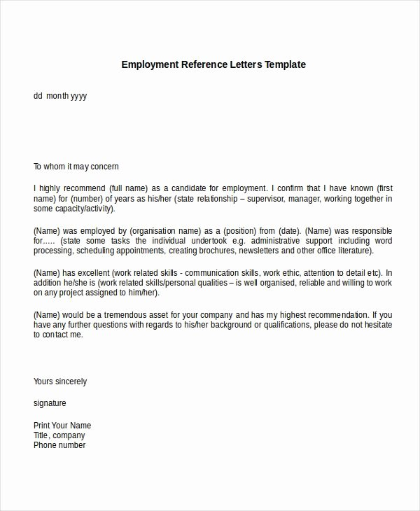 Employment Letter Of Recommendation Template Awesome Template Reference Letter for Employee Google Search