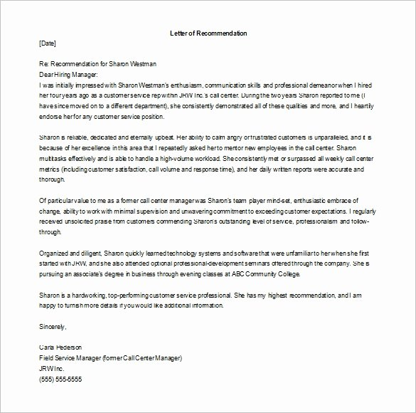 Employment Letter Of Recommendation Template Beautiful 11 Re Mendation Letters for Employment – Free Sample