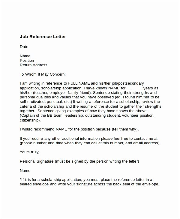 Employment Letter Of Recommendation Template Beautiful 7 Job Reference Letter Templates Free Sample Example