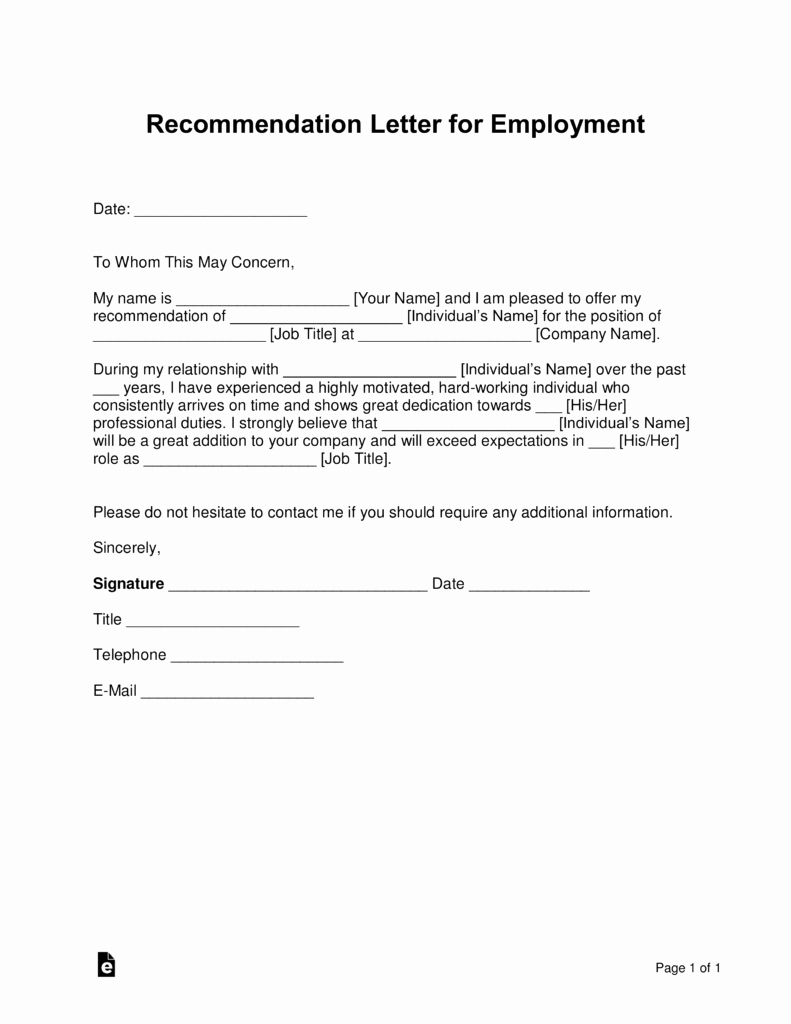 Employment Letter Of Recommendation Template Beautiful Free Job Re Mendation Letter Template with Samples