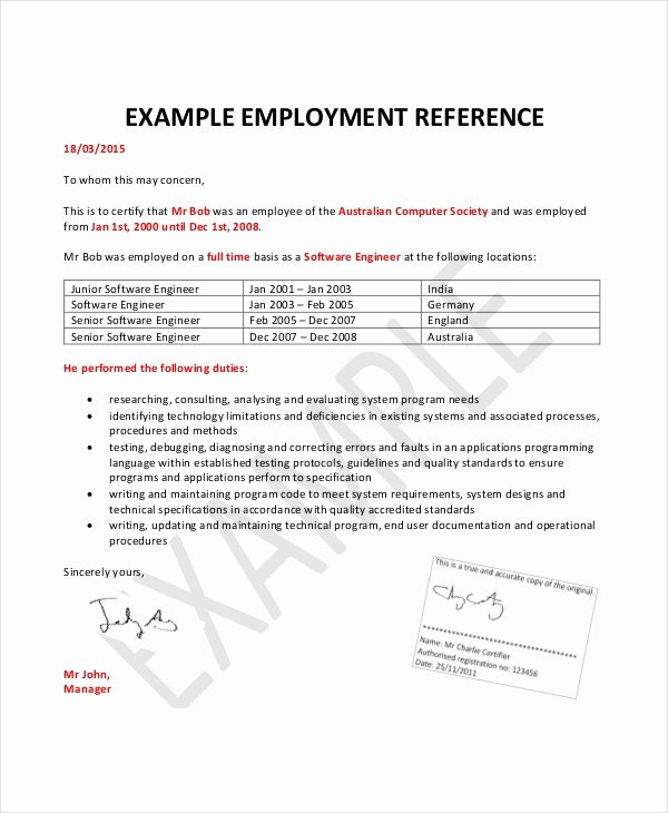 Employment Letter Of Recommendation Template Fresh Employment Reference Letter 8 Free Word Excel Pdf