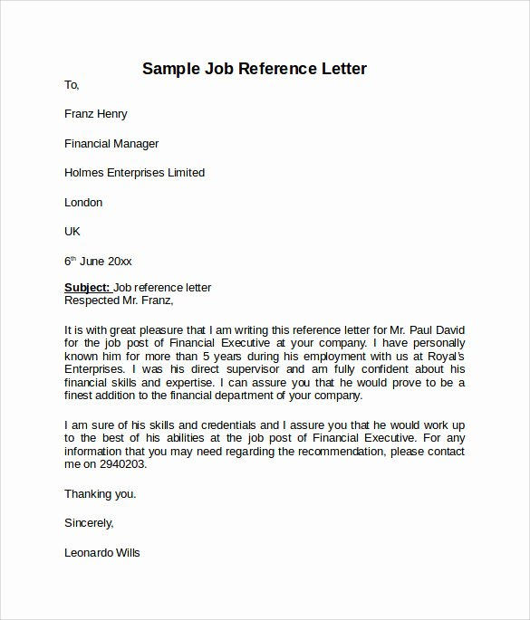 Employment Letter Of Recommendation Template Fresh Job Reference Letter 7 Free Samples Examples & formats