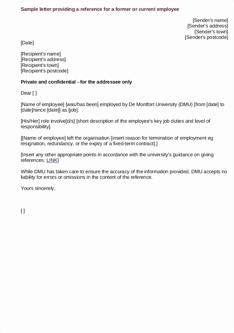 Employment Letter Of Recommendation Template Fresh Template Employment Reference Letter Template