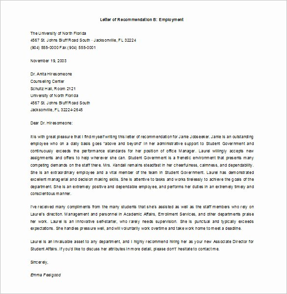 Employment Letter Of Recommendation Template Lovely 10 Job Re Mendation Letter Templates Doc