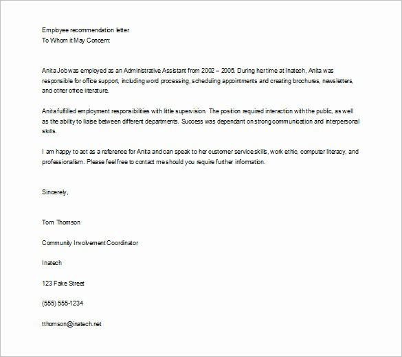 Employment Letter Of Recommendation Template New 10 Job Re Mendation Letter Templates Doc