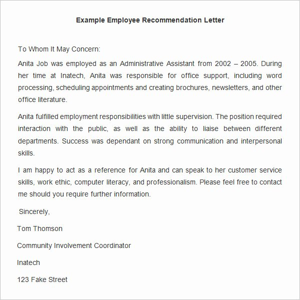Employment Letter Of Recommendation Template New 18 Employee Re Mendation Letters Pdf Doc