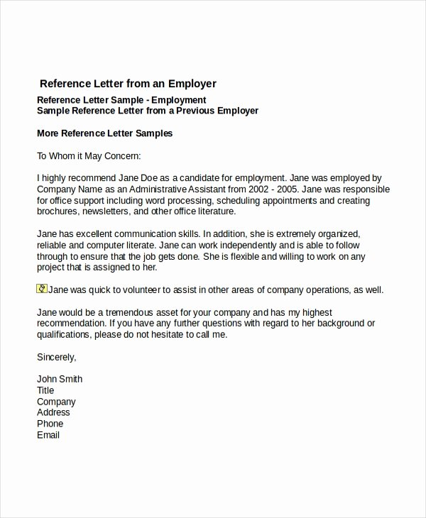 Employment Letter Of Recommendation Template Unique 7 Job Reference Letter Templates Free Sample Example