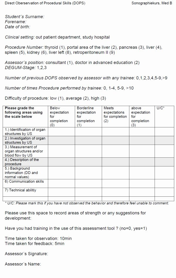 Employment Skills assessment Template Awesome Direct Observation Of Procedural Skills assessment form