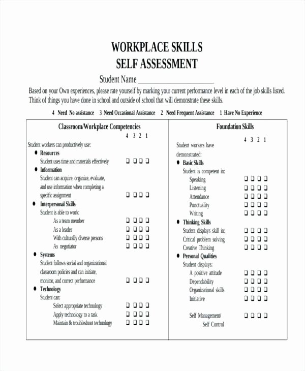 Employment Skills assessment Template Beautiful Employee Self assessment Samples Yearly Evaluation