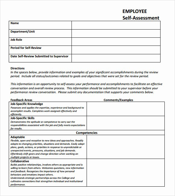 Employment Skills assessment Template Elegant 7 Self assessment Samples