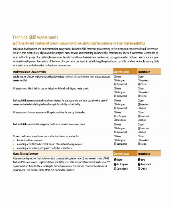Employment Skills assessment Template Elegant Skills assessment Template 9 Free Word Pdf Document