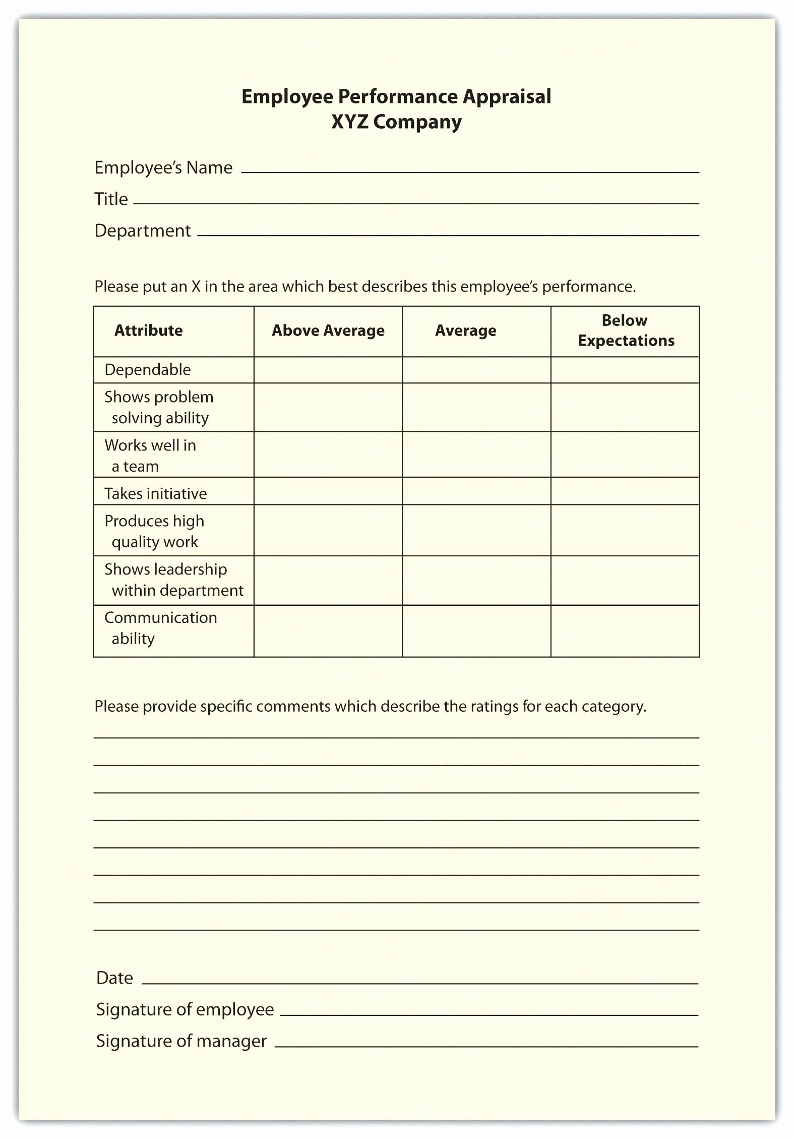 Employment Skills assessment Template Fresh Employee Self assessment Template