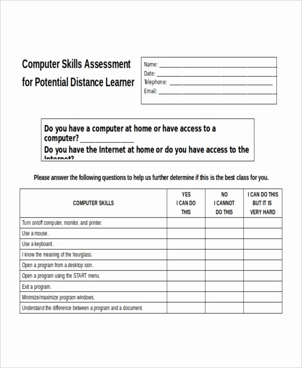 Employment Skills assessment Template Lovely Skills assessment Template 9 Free Word Pdf Document