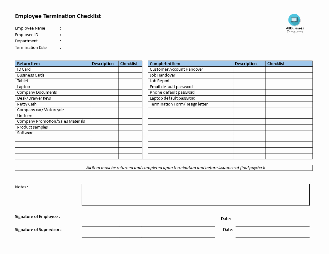 Employment Termination Checklist Template Awesome Free Employee Termination Checklist
