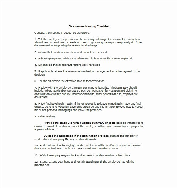 Employment Termination Checklist Template Awesome Termination Checklist Template – 12 Free Word Excel Pdf