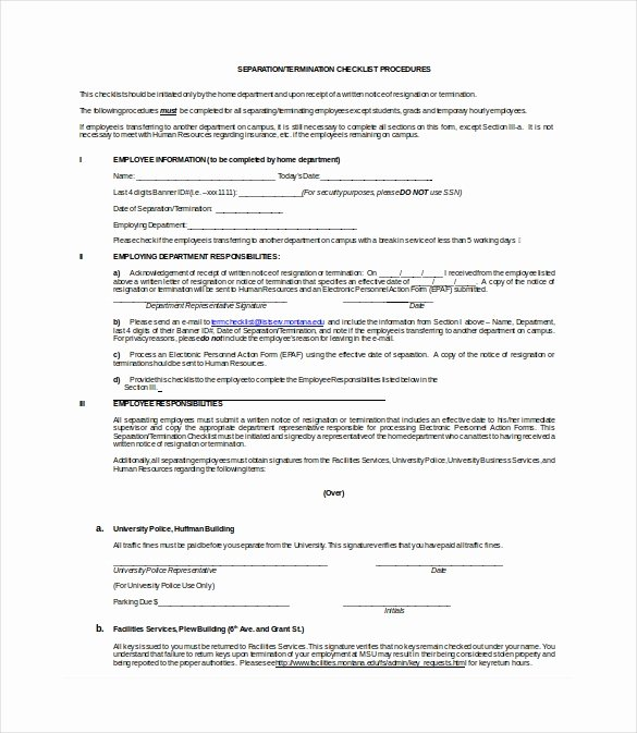 Employment Termination Checklist Template Awesome Termination Checklist Template 19 Free Word Excel Pdf