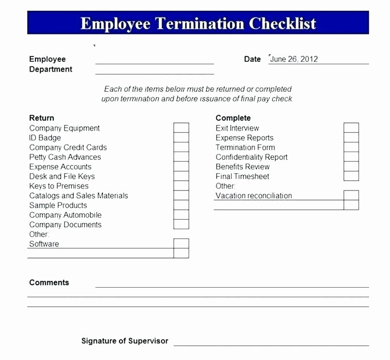Employment Termination Checklist Template Elegant Employee Separation Checklist Template – Psychicnights