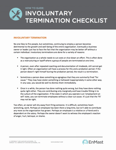 Employment Termination Checklist Template Elegant Employee Termination Checklist for Small Business