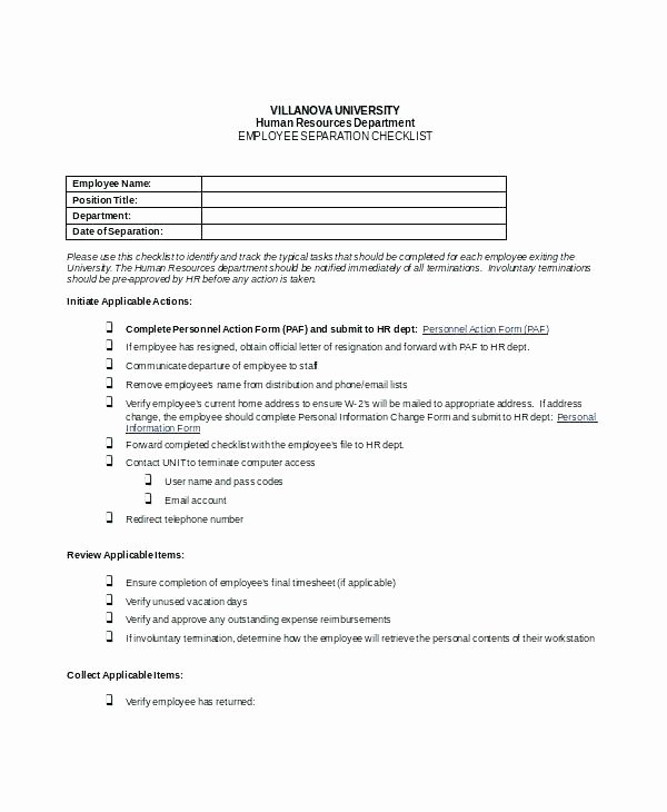 Employment Termination Checklist Template Elegant Termination Checklist Template Employee Termination