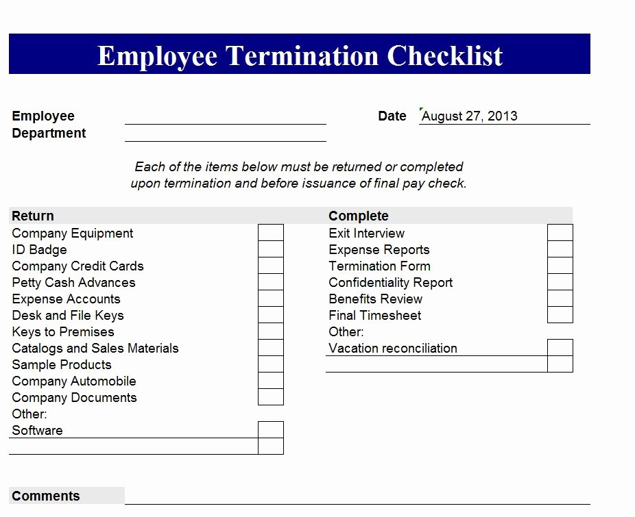 Employment Termination Checklist Template Luxury Employee Termination Checklist