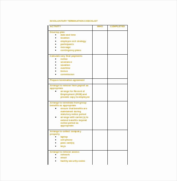 Employment Termination Checklist Template Luxury Termination Checklist Template 19 Free Word Excel Pdf