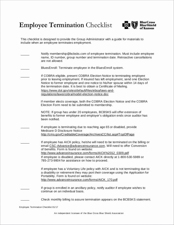 Employment Termination Checklist Template New 12 Termination Checklist Samples & Templates Word