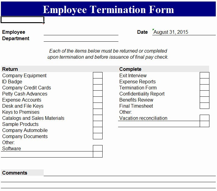 Employment Termination Checklist Template New Employee Termination form My Excel Templates