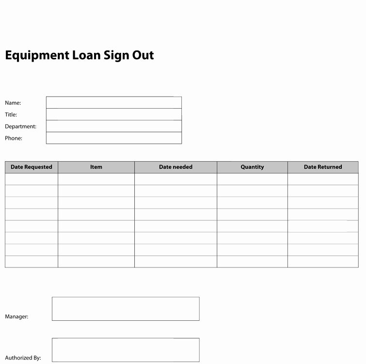 Equipment Checkout form Template Awesome Best S Of Equipment Check Out form Template Excel