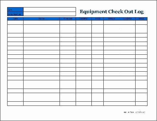 Equipment Checkout form Template Fresh Free Detailed Equipment Check Out Wide From formville