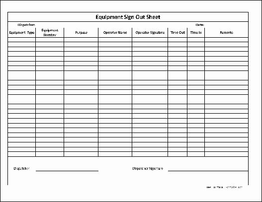 Equipment Checkout form Template Lovely Free Basic Equipment Sign Out Sheet From formville