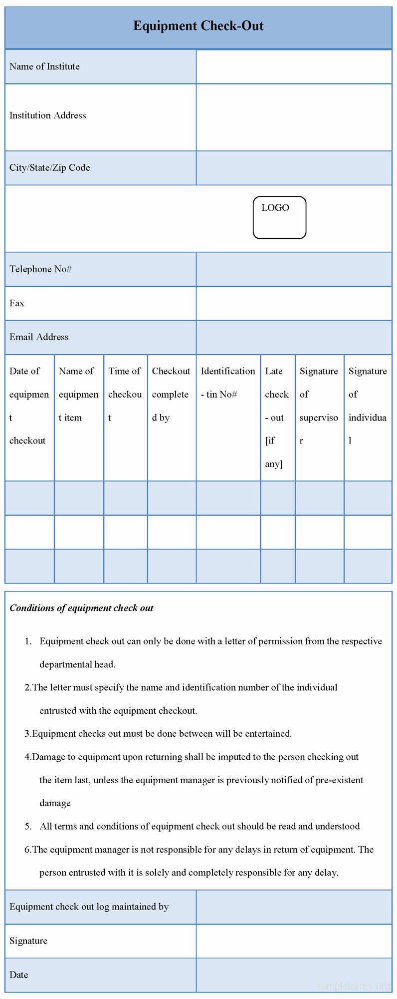 Equipment Checkout form Template New Equipment Checkout form Sample forms