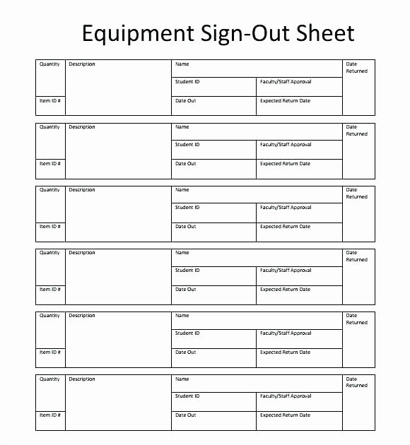 Equipment Checkout form Template New Key Sign Out Sheet Template – Tangledbeard