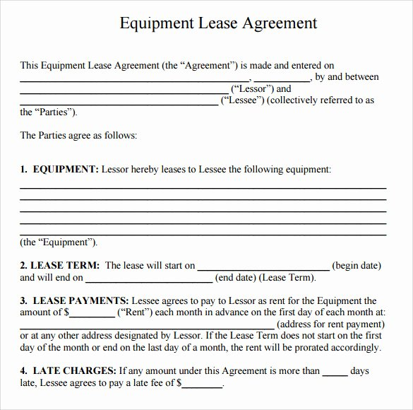 Equipment Lease Agreement Template Awesome 14 Equipment Rental Agreement Templates