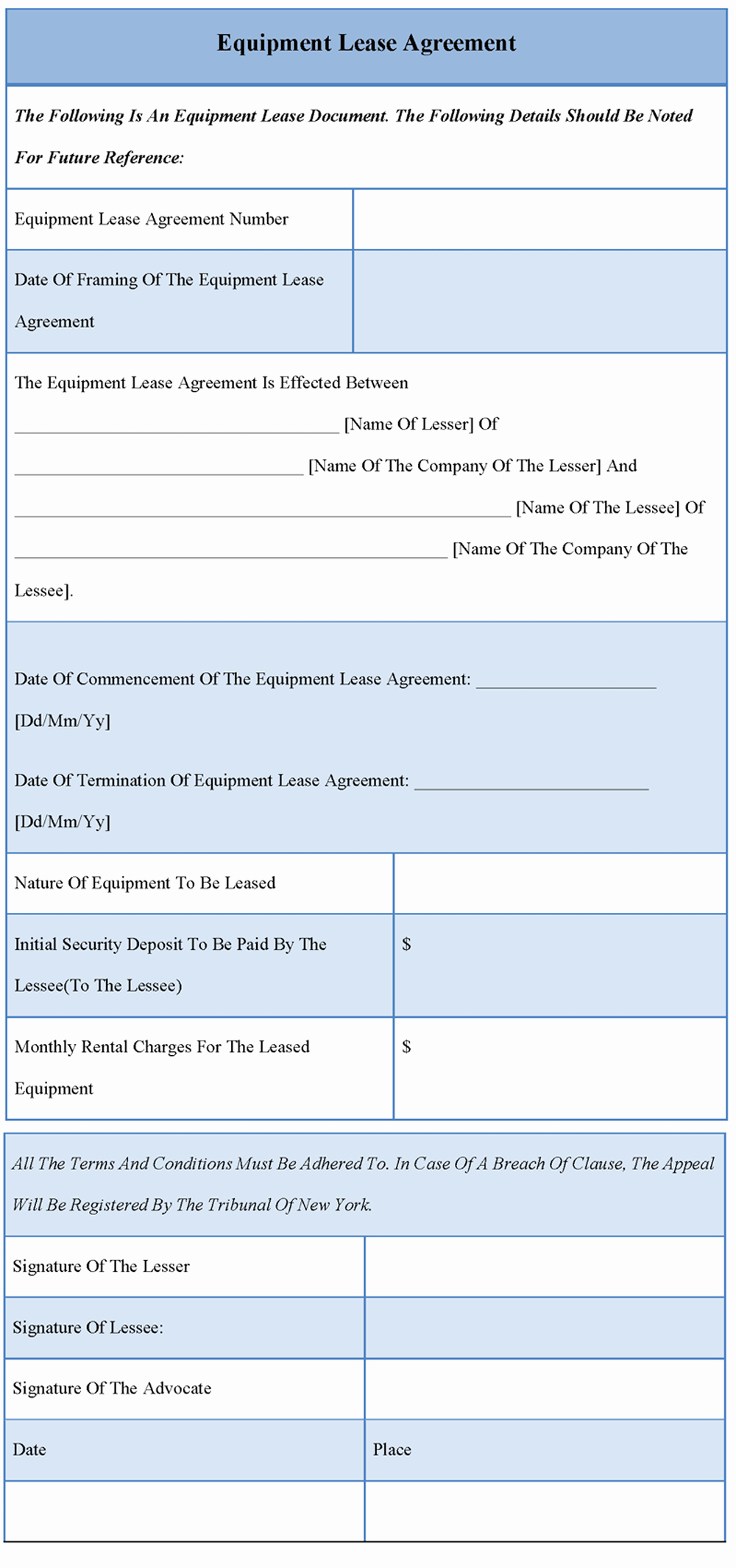 Equipment Lease Agreement Template Awesome Agreement Template for Equipment Lease format Of Equipment