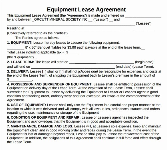 Equipment Lease Agreement Template Beautiful 12 Equipment Lease Agreement – Samples Examples & format