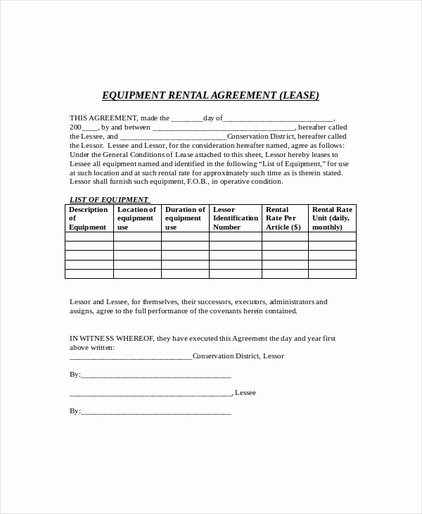 Equipment Lease Agreement Template Beautiful Equipment Lease Template 10 Free Word Pdf Google