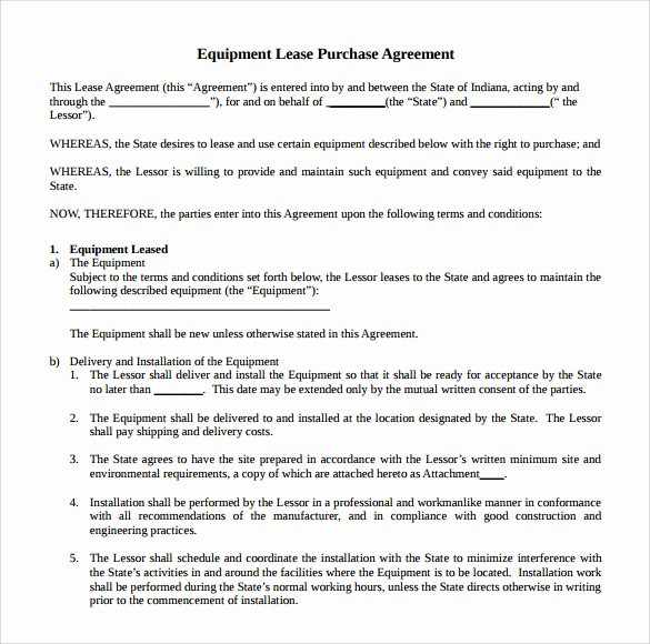 Equipment Lease Agreement Template Best Of 14 Equipment Rental Agreement Templates