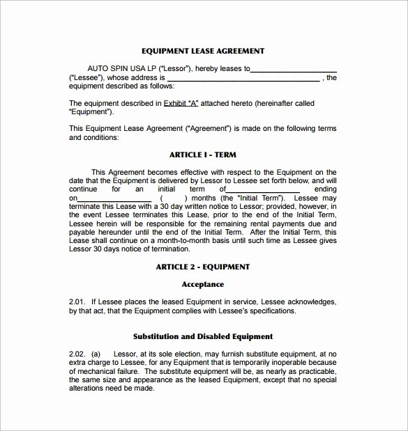 Equipment Lease Agreement Template Best Of 9 Equipment Lease Agreement Templates