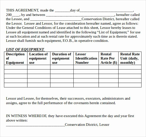 Equipment Lease Agreement Template Elegant 12 Equipment Lease Agreement – Samples Examples & format