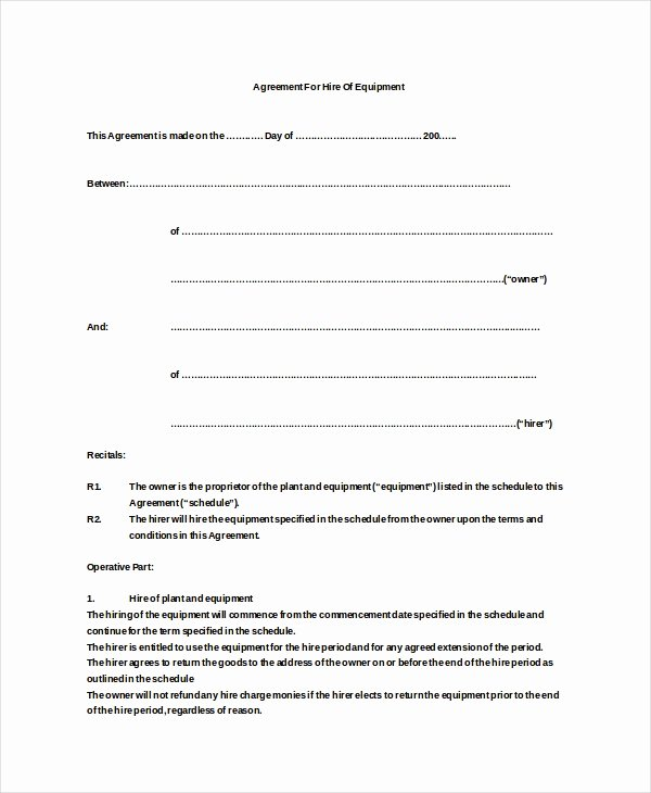 Equipment Lease Agreement Template Elegant 20 Equipment Rental Agreement Templates Doc Pdf