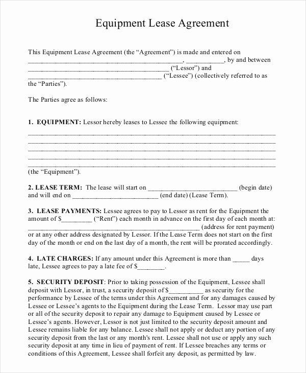 Equipment Lease Agreement Template Elegant 20 Equipment Rental Agreement Templates Doc Pdf