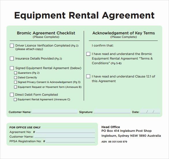 Equipment Lease Agreement Template Elegant Sample Equipment Rental Agreement Template 9 Free